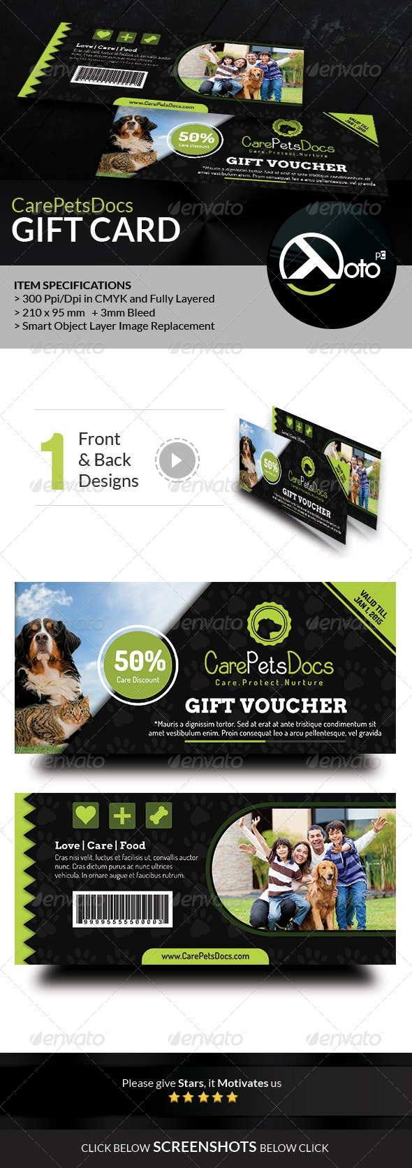 Care Pets Docs Veterinary Gift Vouchers  - Cards & Invites Print Templates