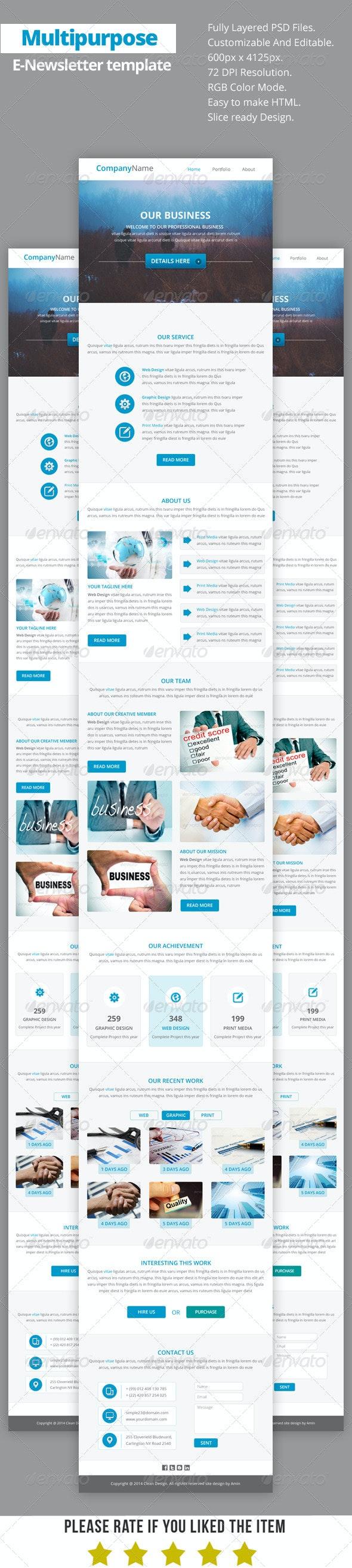 Multipurpose E-Newsletter Template V12