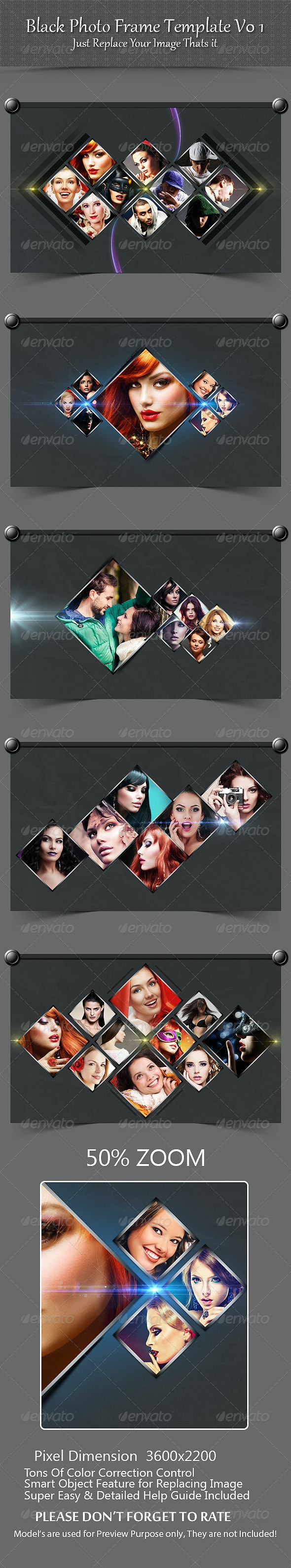 Black Photo Frame Template V01 - Photo Templates Graphics