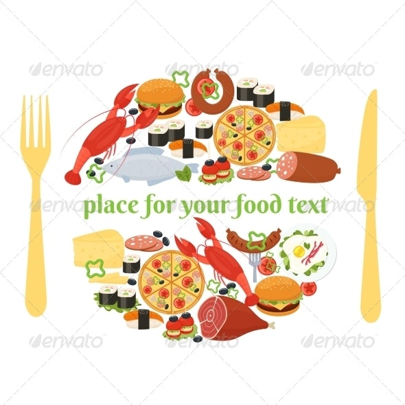 Food Badge Concept with Knife and Fork - Food Objects