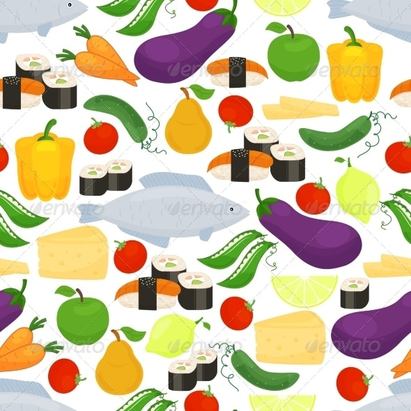 Healthy Food Seamless Background Pattern - Food Objects