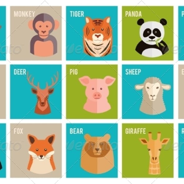 Icons of Animals and Pets in Flat Style