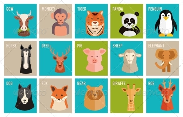 Icons of Animals and Pets in Flat Style - Animals Characters