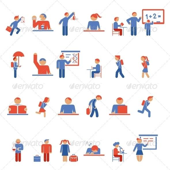 Children in School Flat Icons - Miscellaneous Vectors