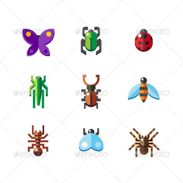 Set of Flat Insect Bug Icons