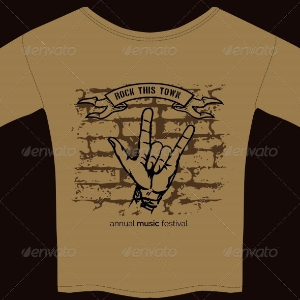 Music Tee Shirt Template - Man-made Objects Objects