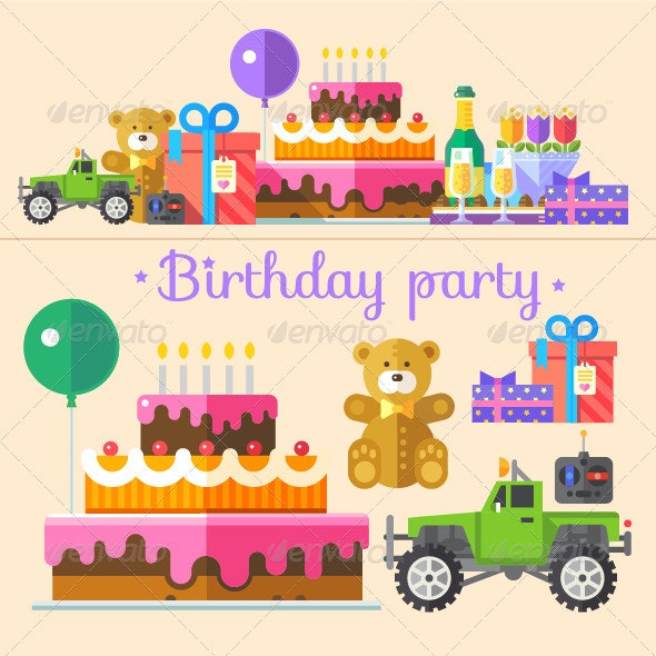 Color Flat Birthday Party Illustrations  - Man-made Objects Objects