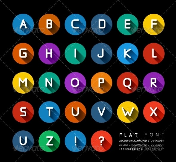 Flat Font - Miscellaneous Vectors