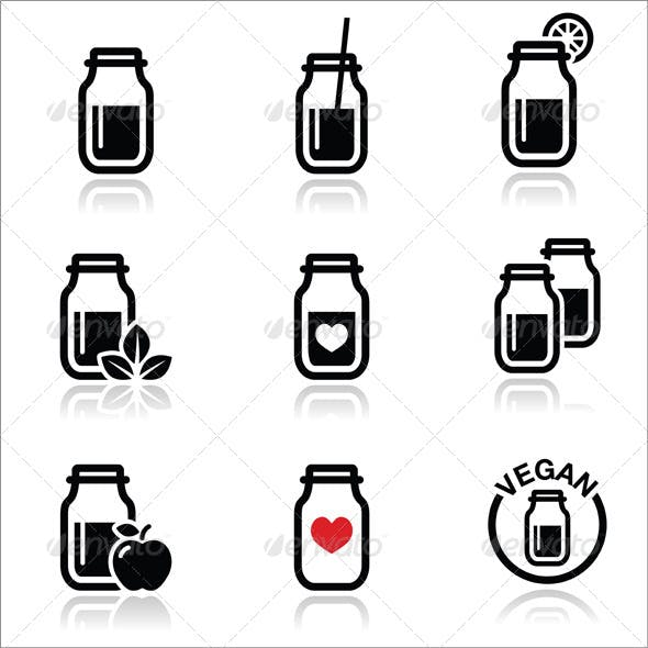 Shake or Smoothie Jar Icons Set