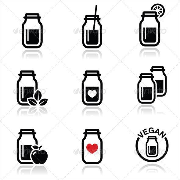 Shake or Smoothie Jar Icons Set  - Food Objects