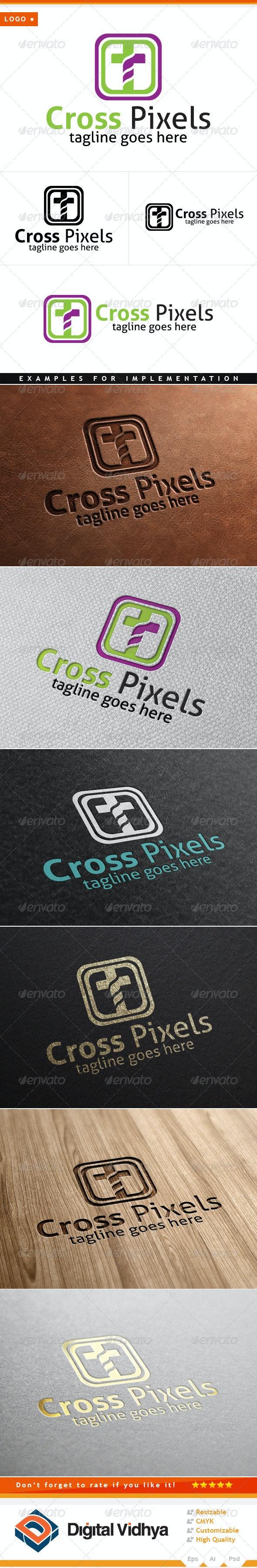 Cross & Pixel Logo - Symbols Logo Templates