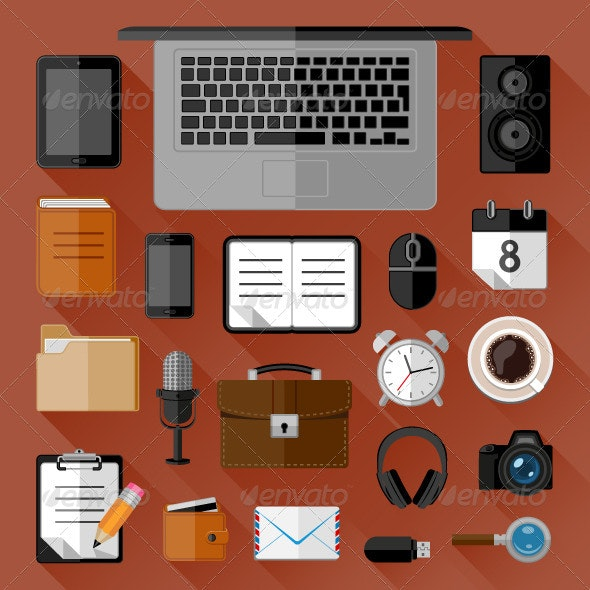 Concept of Workplace. Flat Icons - Web Icons