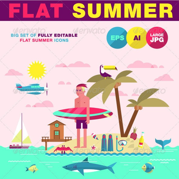 Flat Summer Icons - Objects Vectors