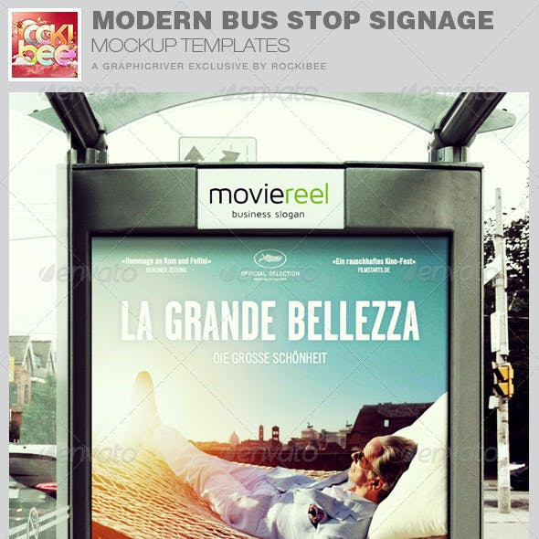 Modern Bus Stop Signage Mockup Templates