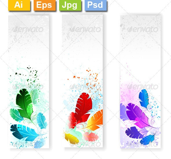 Three Banners with Colored Feathers - Web Elements Vectors