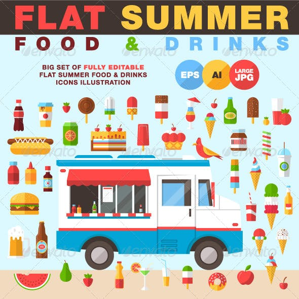 Flat Summer Food and Drinks Icons