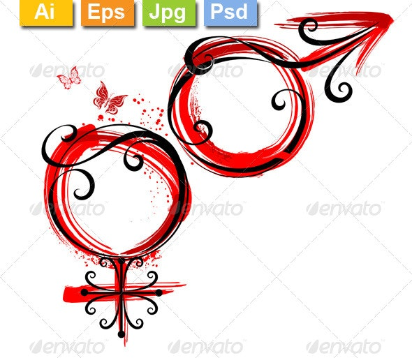 Male and Female Symbol - Tattoos Vectors