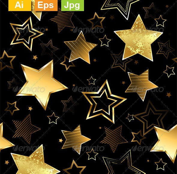 Seamless with Golden Stars - Patterns Decorative