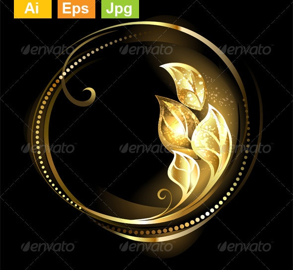 Round Banner with Golden Leaves - Backgrounds Decorative