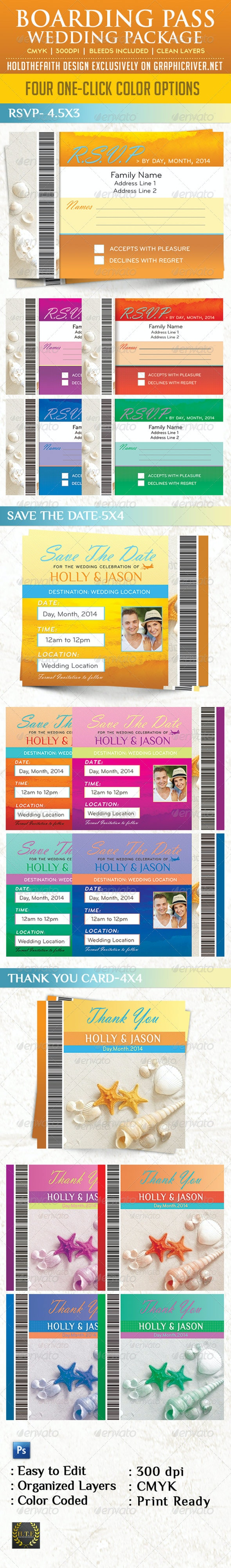 Boarding Pass Wedding Package - Weddings Cards & Invites