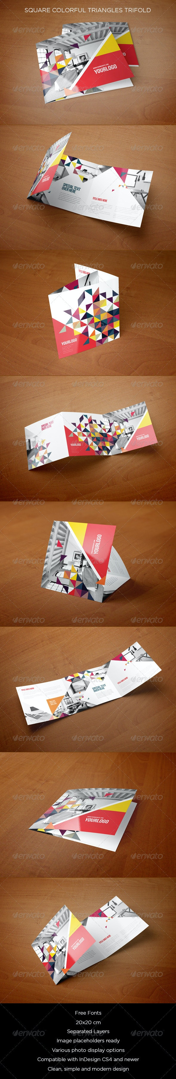 Square Colorful Triangles Trifold - Brochures Print Templates
