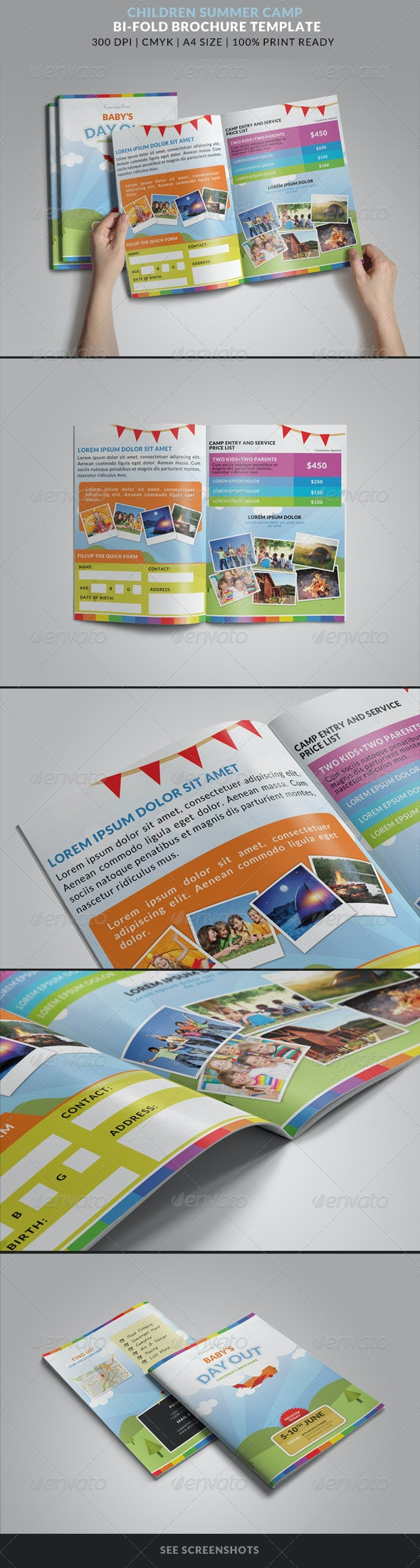 Summer Camp Kids Bi-Fold Brochure - Brochures Print Templates