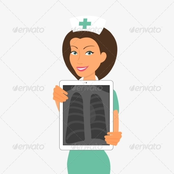Nurse Holding Tablet PC With X-Ray - Health/Medicine Conceptual