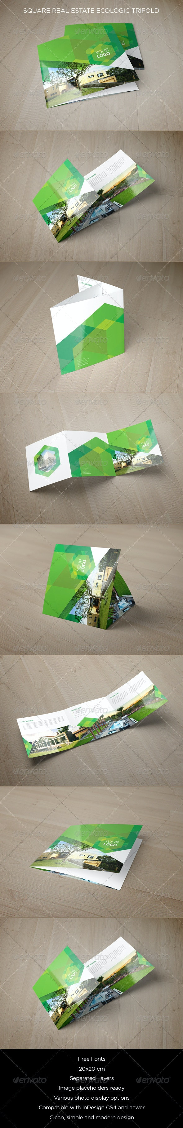 Square Real Estate Ecologic Trifold - Brochures Print Templates