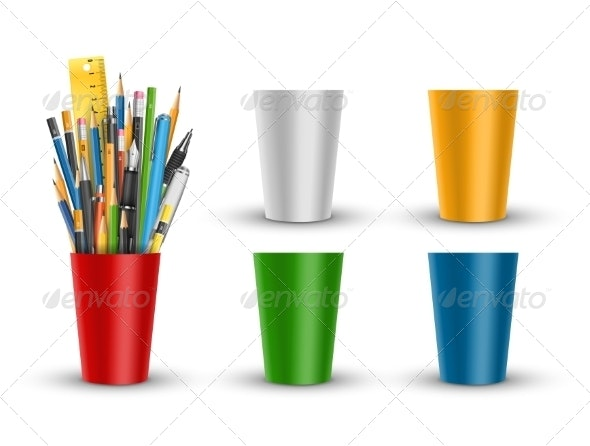 Pen and Pencils in Cup - Man-made Objects Objects