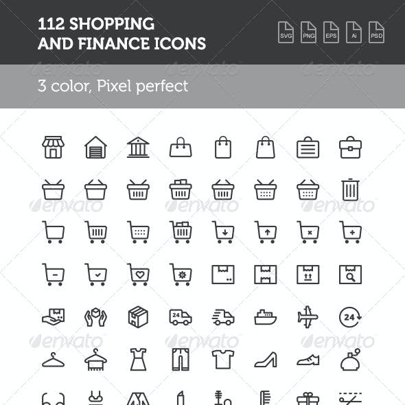 112 Shopping and Finance Icon Set