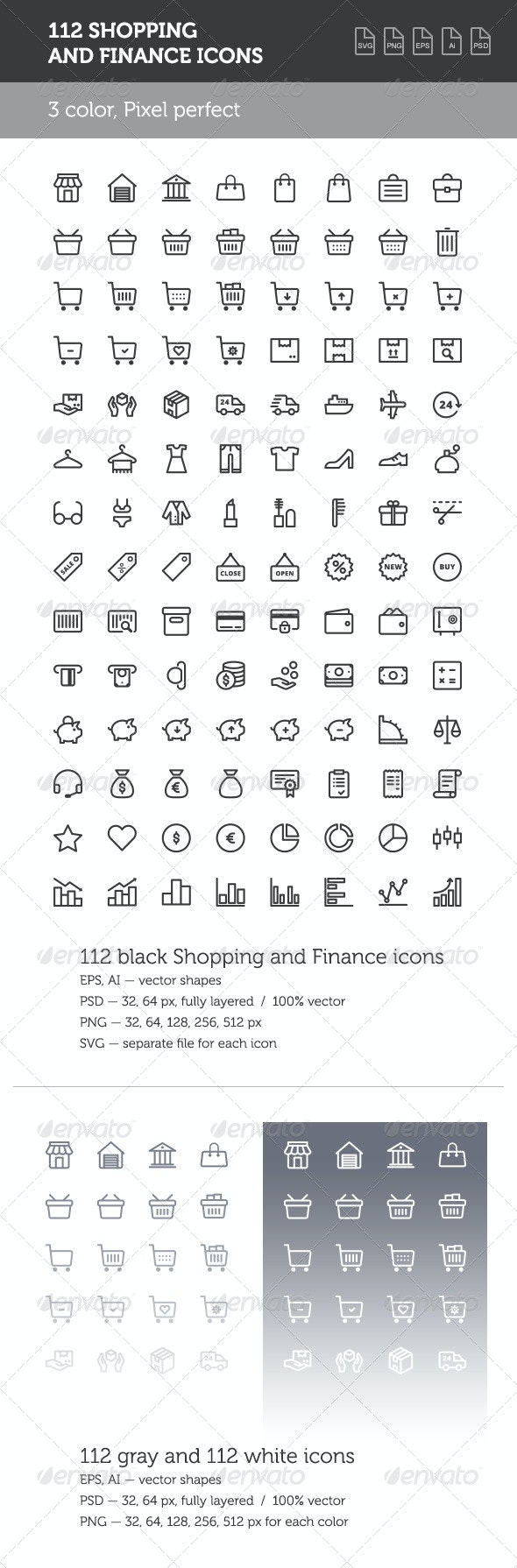 112 Shopping and Finance Icon Set - Business Icons