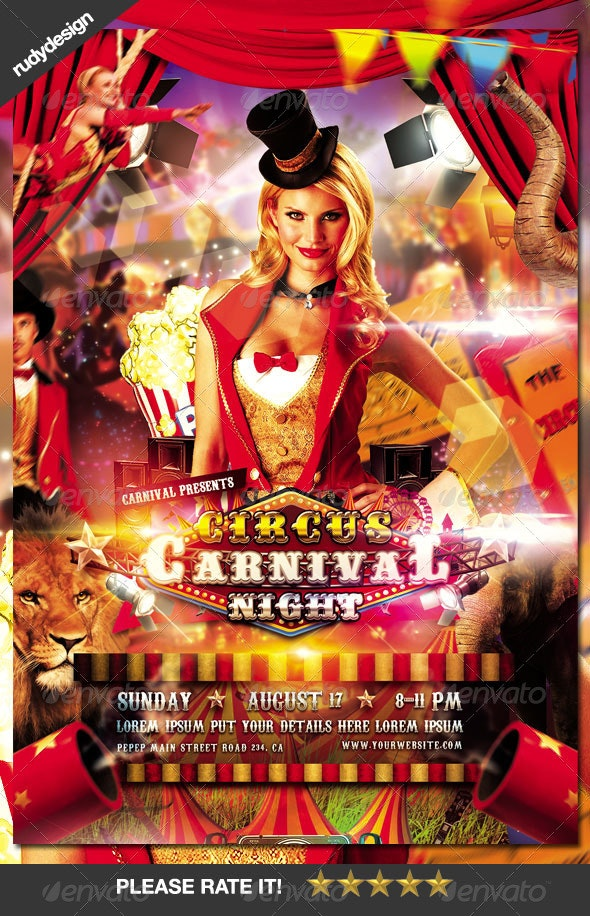 Circus Carnival Flyer Design - Events Flyers