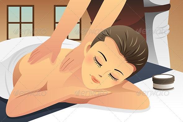 Woman Enjoying Massage - Health/Medicine Conceptual