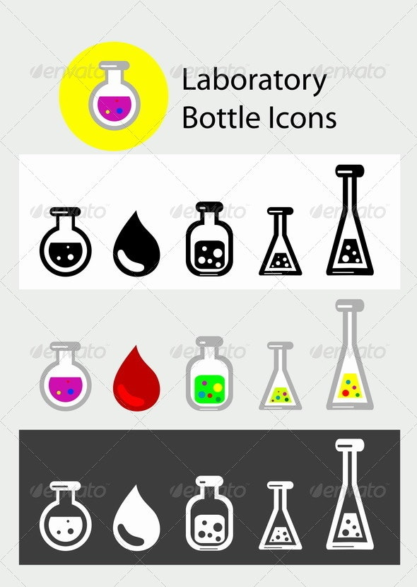 Laboratory Bottle icon Set - Man-made Objects Objects