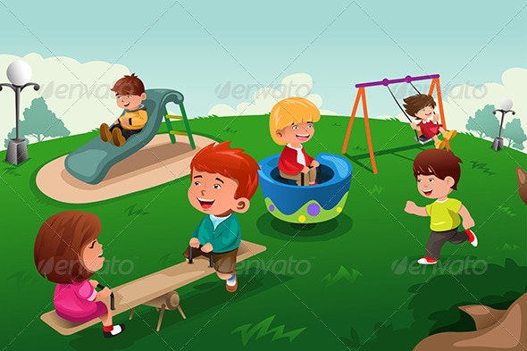 Kids Playing in the Park - Sports/Activity Conceptual