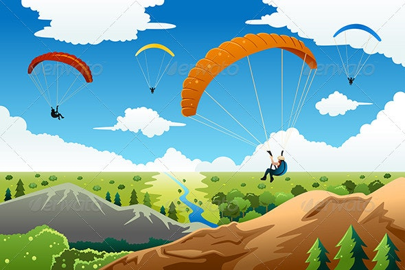 People Paragliding - Sports/Activity Conceptual
