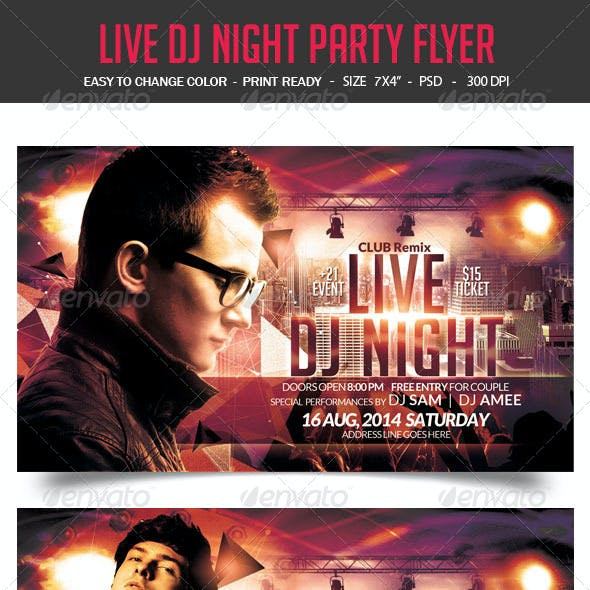 Live DJ Night Party Flyer