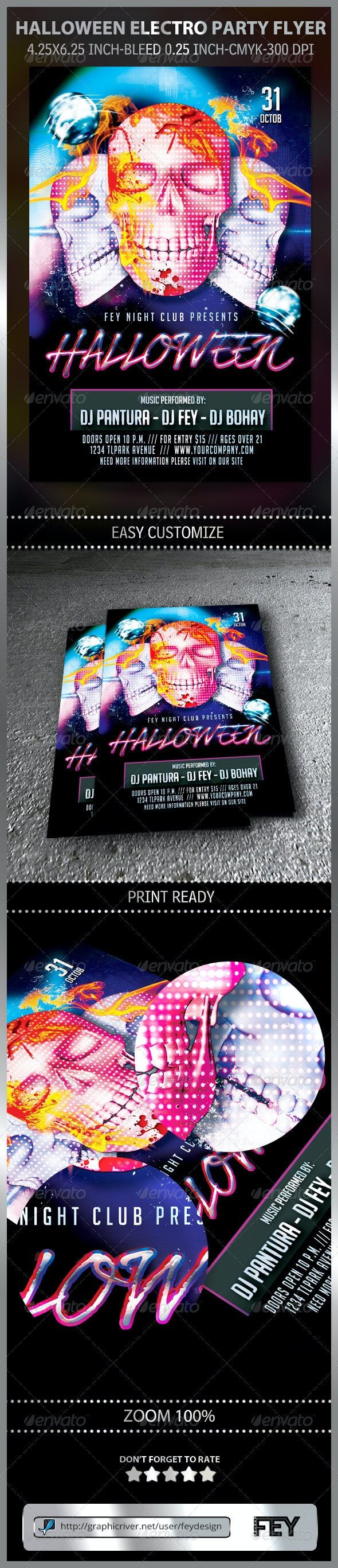 Halloween Electro Party Flyer - Clubs & Parties Events