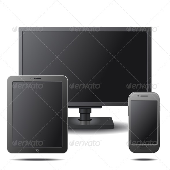 Set of Electronic Devices with Black Blank Screens - Computers Technology