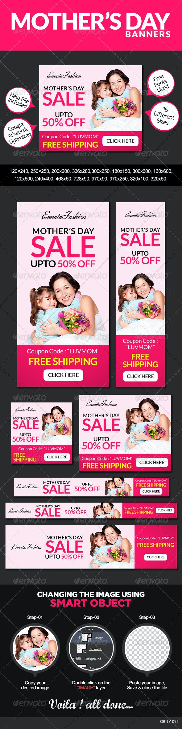 Mother's Day Banners - Banners & Ads Web Elements