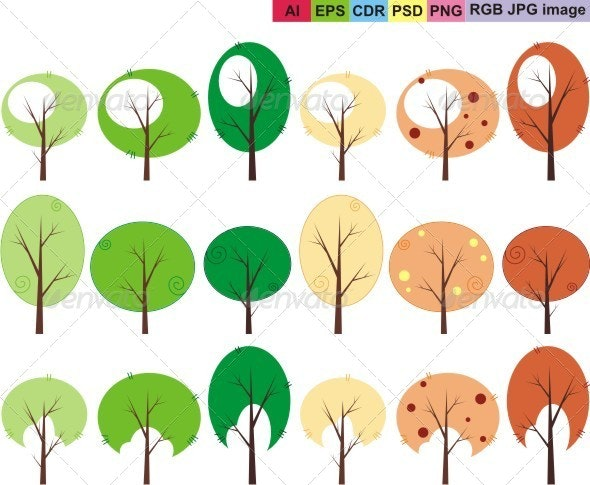 Trees Set - Nature Conceptual