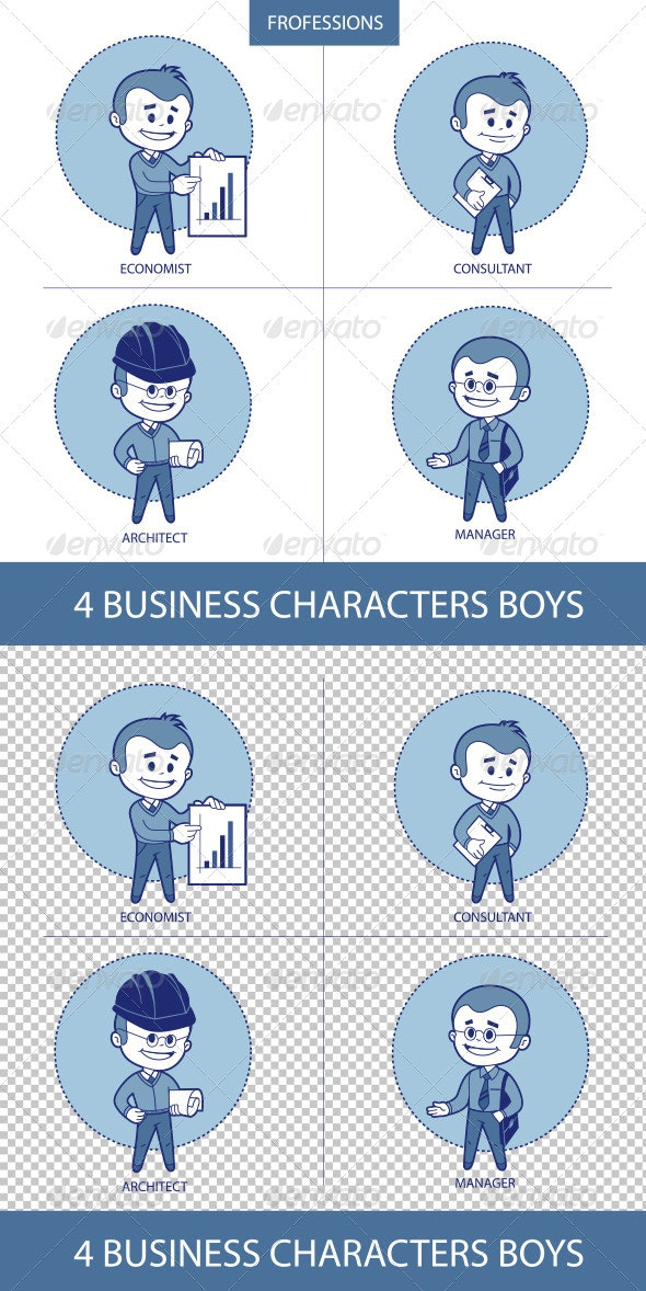Four Business Characters Boys - People Characters