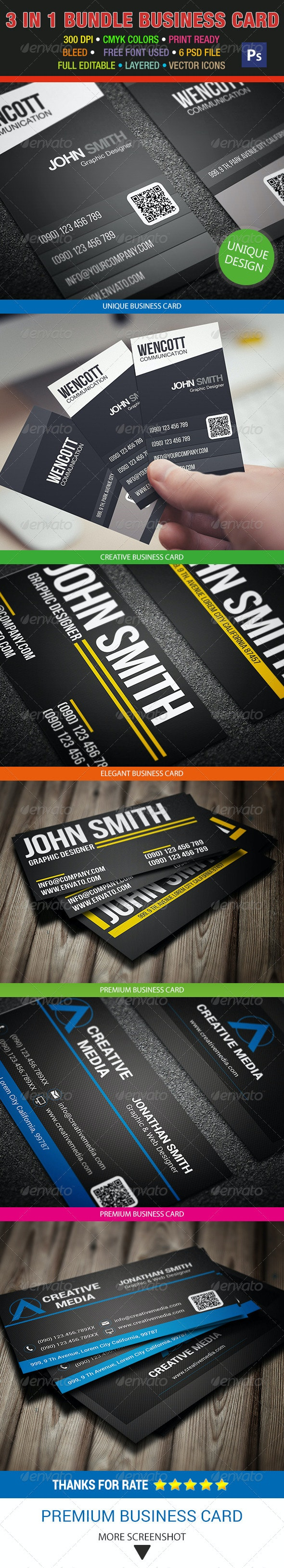 3 in 1 Bundle Business Card 20 - Creative Business Cards