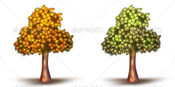 Vector Illustration of Green and Yellow Trees - Flowers & Plants Nature