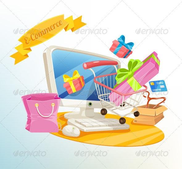 E Commerce Illustration - Commercial / Shopping Conceptual