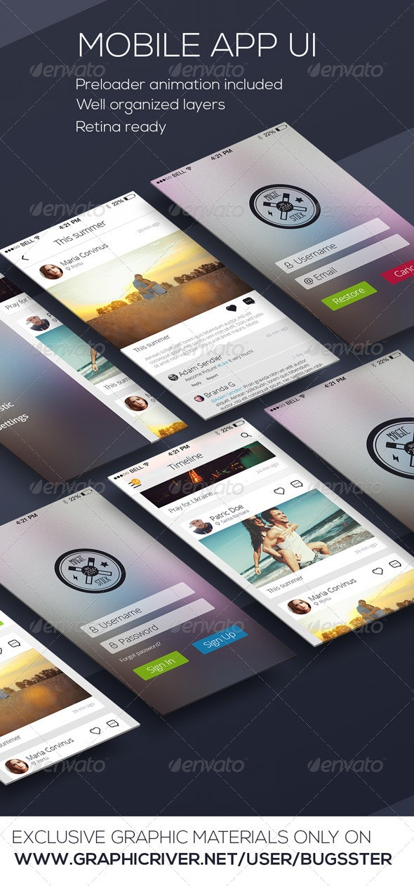 Mobile Phone OS8 Style App UI Kit - User Interfaces Web Elements