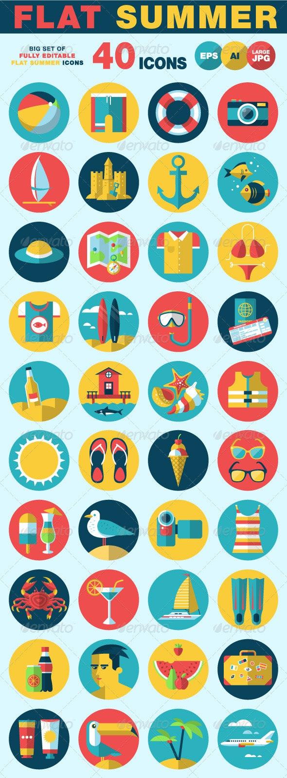 Flat Summer Icons Set - Objects Vectors