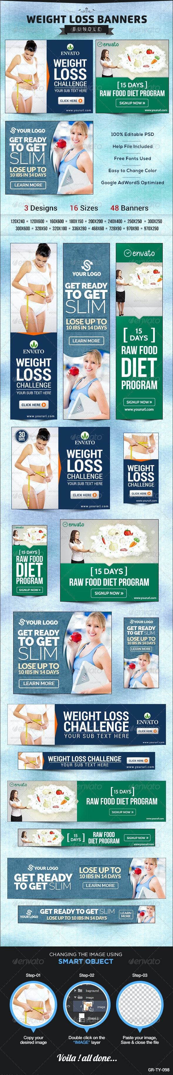 Weight Loss Banner Bundle - 3 sets - Banners & Ads Web Elements