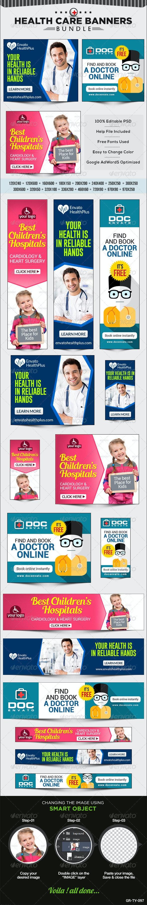 Health Care Banner Bundle - 3 sets - Banners & Ads Web Elements