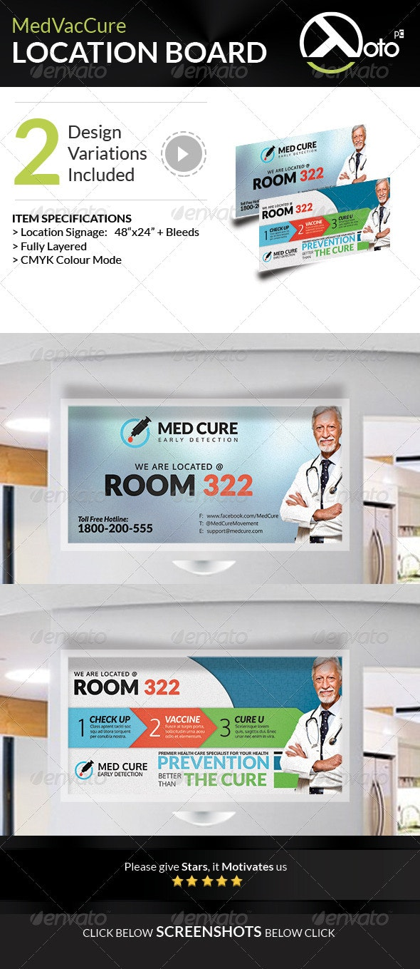 Med Vac Cure Health Care Location Board Signages - Signage Print Templates